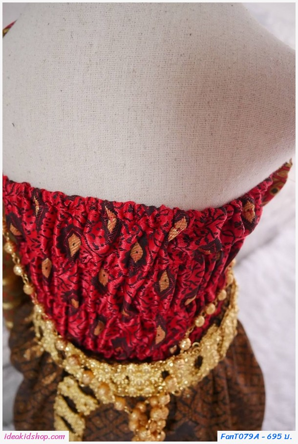ชุดไทยการะเกดโจงผ้าทอ สไบผ้าไหมอินเดีย สีแดง