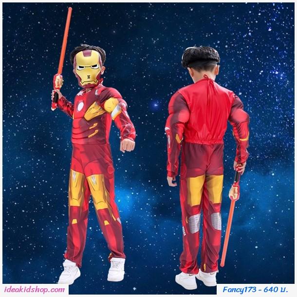 ชุดแฟนซี+หน้ากาก Cosplay ลาย Iron Man สีแดง