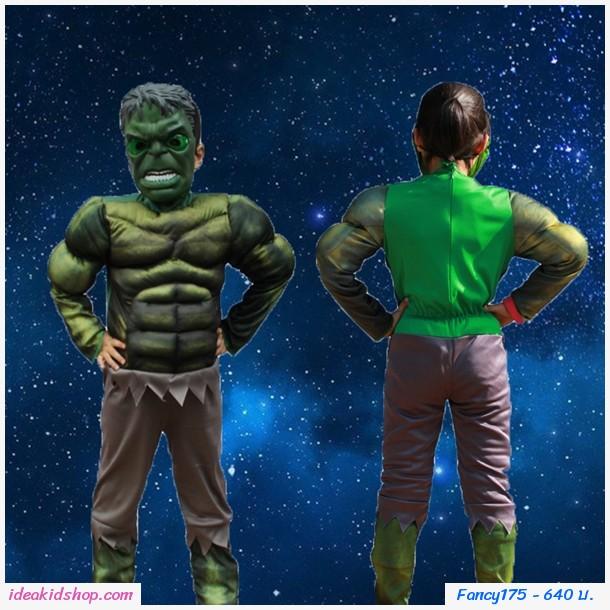 ชุดแฟนซี+หน้ากาก Cosplay ลาย HULK สีเขียว