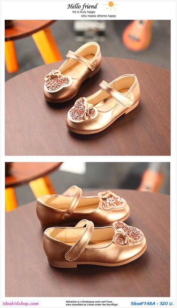 รองเท้าหุ้มส้น Mickey Mouse ติดโบว์ สีน้ำตาลทอง