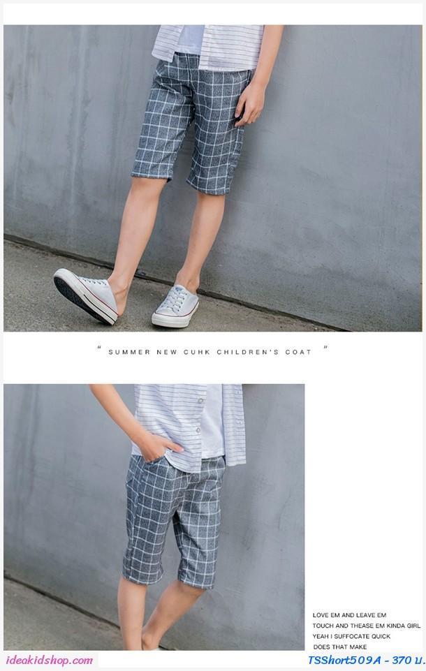 กางเกงขาสามส่วน ลายตารางแฟชั่นสุดเท่ สีเทา
