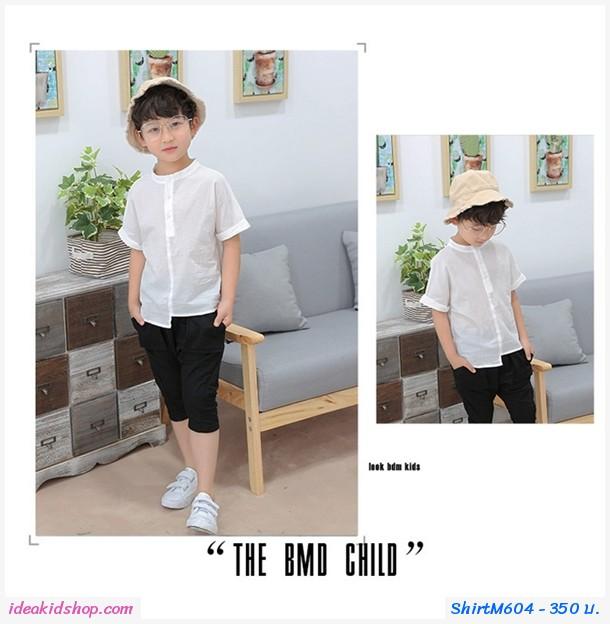 เสื้อคอจีนเด็กชายสไตล์นายหัว สีขาว