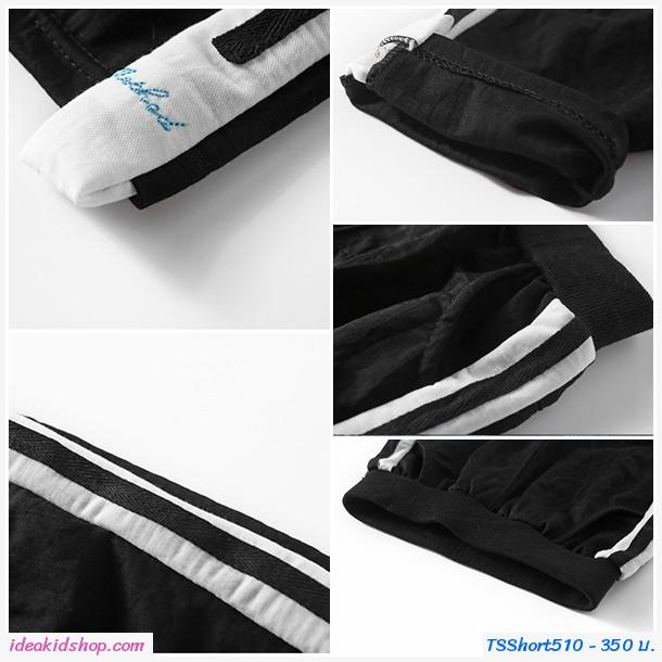 กางเกงสไตล์วอร์มขาสามส่วน แต่งแถบคาดข้าง สีดำ