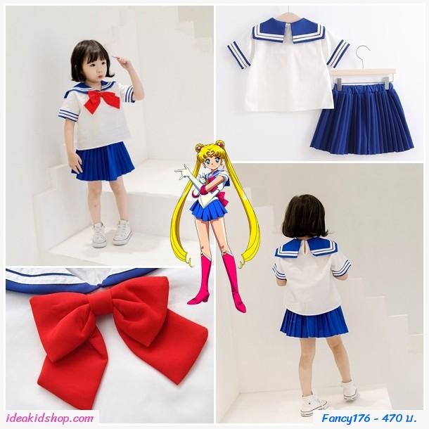 ชุดเสื้อกระโปรง Sailor Moon สึคิโนะ สีขาวน้ำเงิน