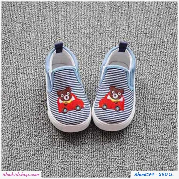 รองเท้าผ้าใบแบบสวม ลายทาง MR.BEAR สียีนส์