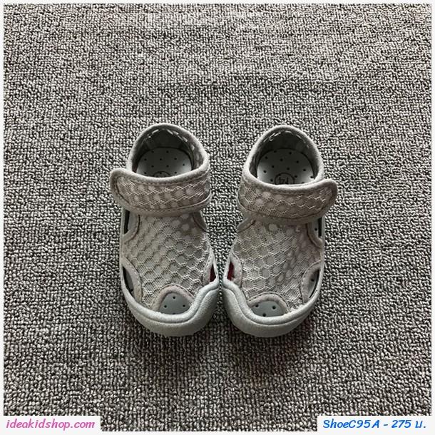 รองเท้าตาข่ายแบบสวม แฟชั่นสุด Chic สีเทา