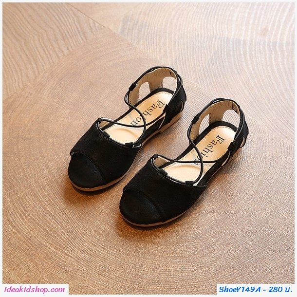 รองเท้ารัดส้น สไตล์โบฮีเมียน สีดำ
