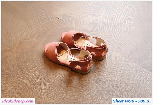 รองเท้ารัดส้น สไตล์โบฮีเมียน สีชมพู
