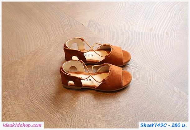 รองเท้ารัดส้น สไตล์โบฮีเมียน สีน้ำตาล