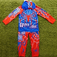 ชุดเสื้อกางเกงว่ายน้ำพร้อมหมวก-ลาย-Spider-Man