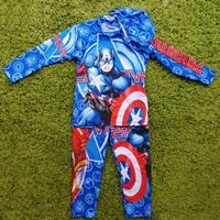 ชุดเสื้อกางเกงว่ายน้ำพร้อมหมวก-ลาย-Captain-America