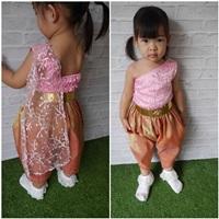 ชุดไทยเด็กสไบลูกไม้_โจงผ้าทอ-มินิการะเกด-สีชมพู