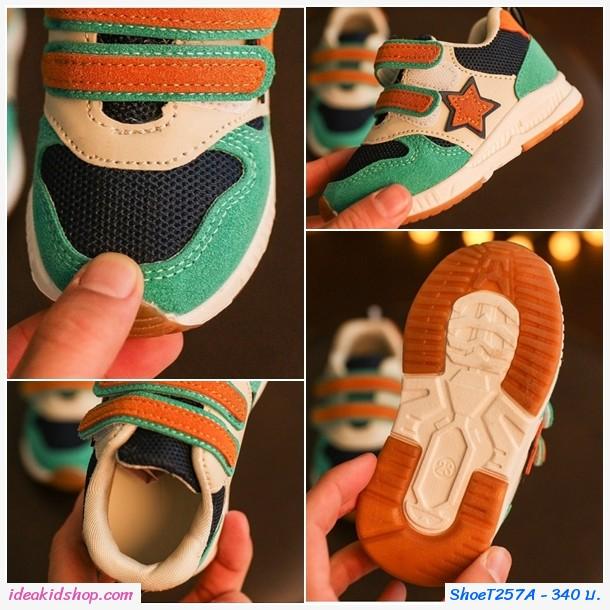รองเท้าผ้าใบสไตล์ NB ลายดาว โทนสีเขียว