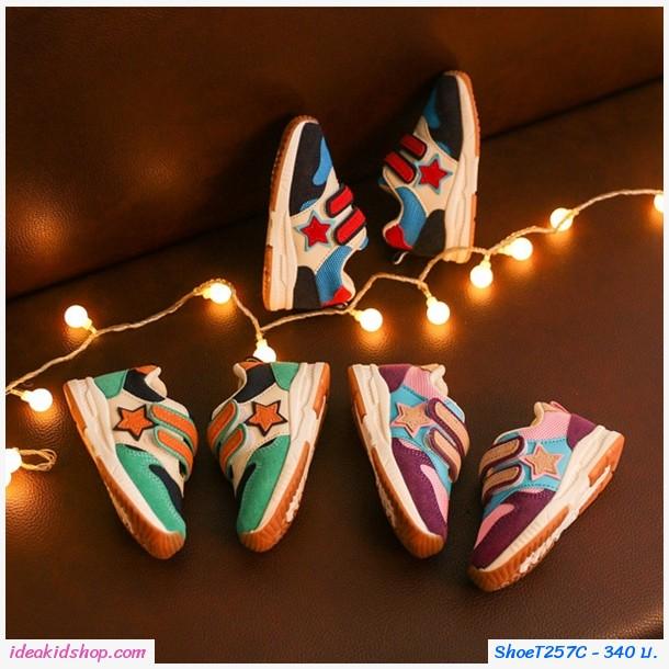 รองเท้าผ้าใบสไตล์ NB ลายดาว โทนสีม่วง