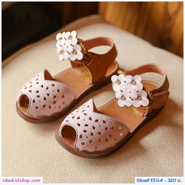 รองเท้ารัดส้นแต่งลายฉลุ สายคาดดอกไม้ สีขาว