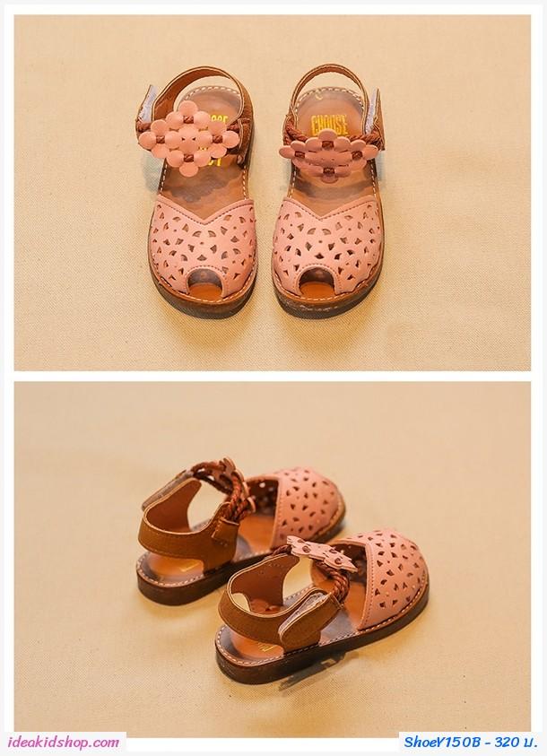 รองเท้ารัดส้นแต่งลายฉลุ สายคาดดอกไม้ สีชมพู