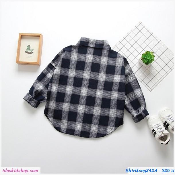 เสื้อเชิ้ตแขนยาวแฟชั่นเกาหลี ลายตาราง สีกรม