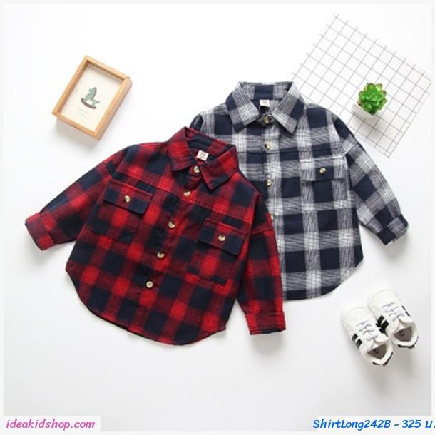 เสื้อเชิ้ตแขนยาวแฟชั่นเกาหลี ลายตาราง สีแดง