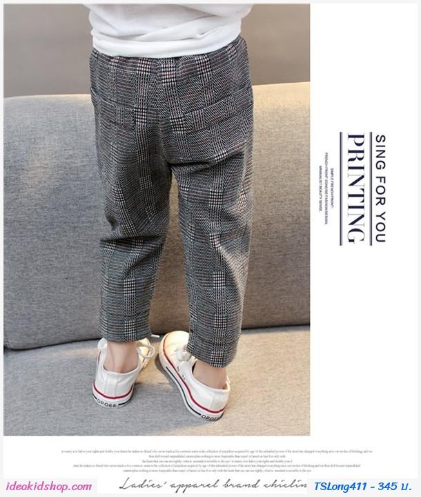 กางเกงขายาวแฟชั่น ลายสก๊อต สีเทา