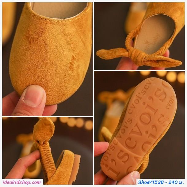 รองเท้ารัดส้นผูกโบว์แฟชั่นกำมะหยี่ สีเทา