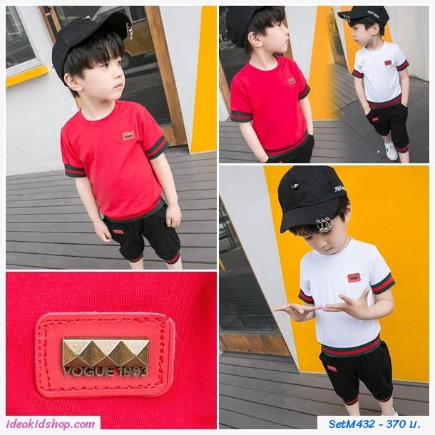 ชุดเสื้อกางเกงสไลต์ GUCCI ปัก VOGUE 1983 สีแดง