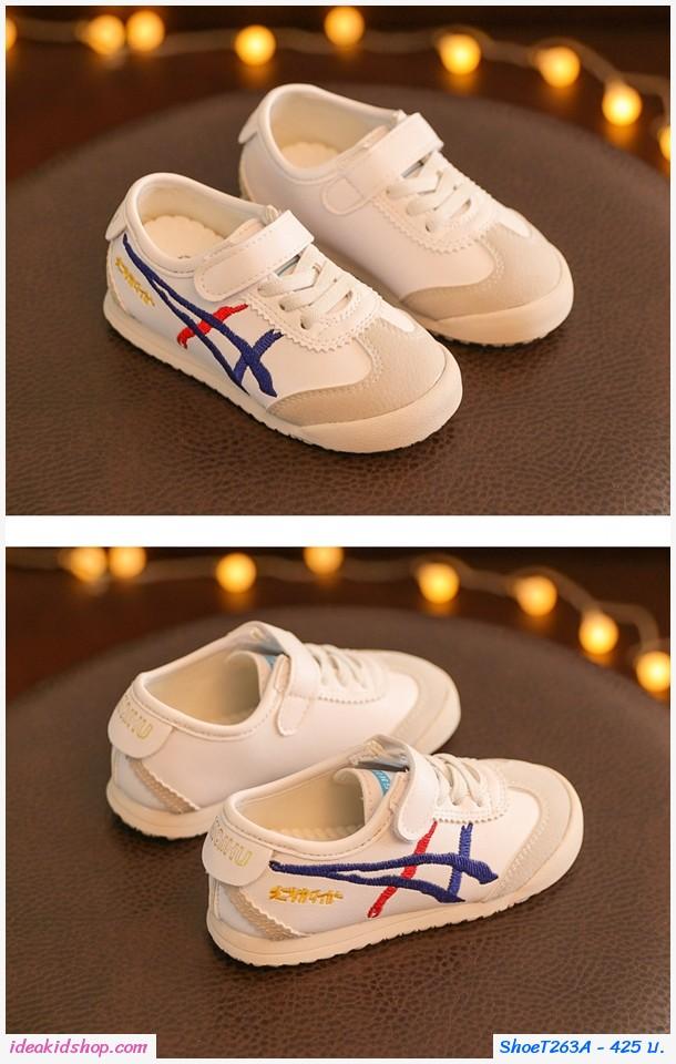 รองเท้าผ้าใบ MIQIHU สไตล์โอนิ สีขาวน้ำเงิน