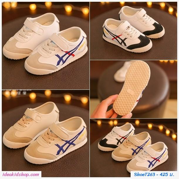 รองเท้าผ้าใบ MIQIHU สไตล์โอนิ สีขาวดำ