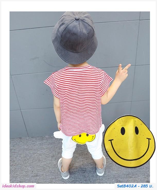 ชุดเสื้อกางเกงลายทาง หน้ายิ้ม Smile สีแดง