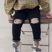 กางเกงยีนส์ขาเดฟปาดรอยขาดสุดแนว-สีดำ