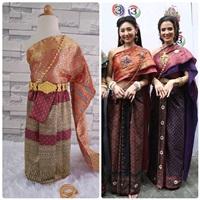 ชุดไทย-ผ้าถุงการะเกด-สไบผ้าไหมอินเดีย-สีแดง