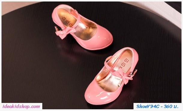 รองเท้าส้นสูง RETRO ติดโบว์ สีชมพู