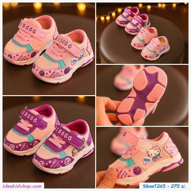 รองเท้าผ้าใบแฟชั่นน่ารัก Hello Kitty Gingg สีชมพู