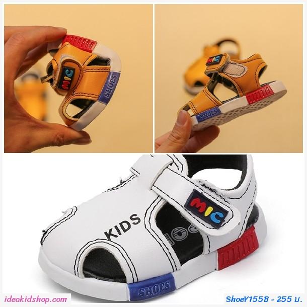 รองเท้ารัดส้นน่ารัก KIDS MIC สีขาว