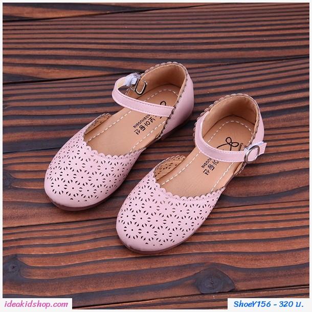 รองเท้าหุ้มส้นดอกฉลุ Princess Shoes สีชมพู