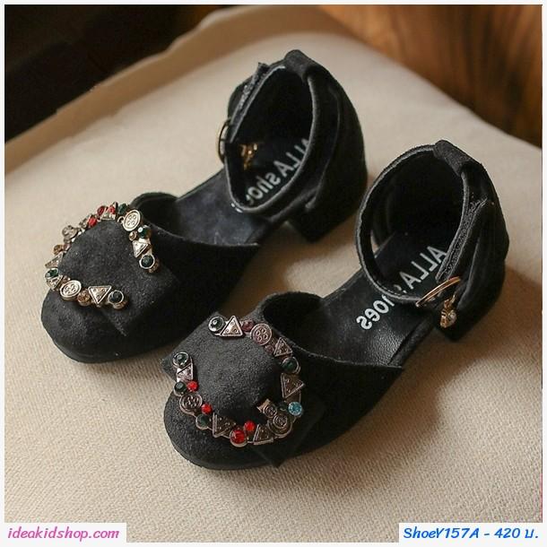รองเท้าหุ้มส้นวินเทจแต่งคริสตัลตัว C มีส้น สีดำ