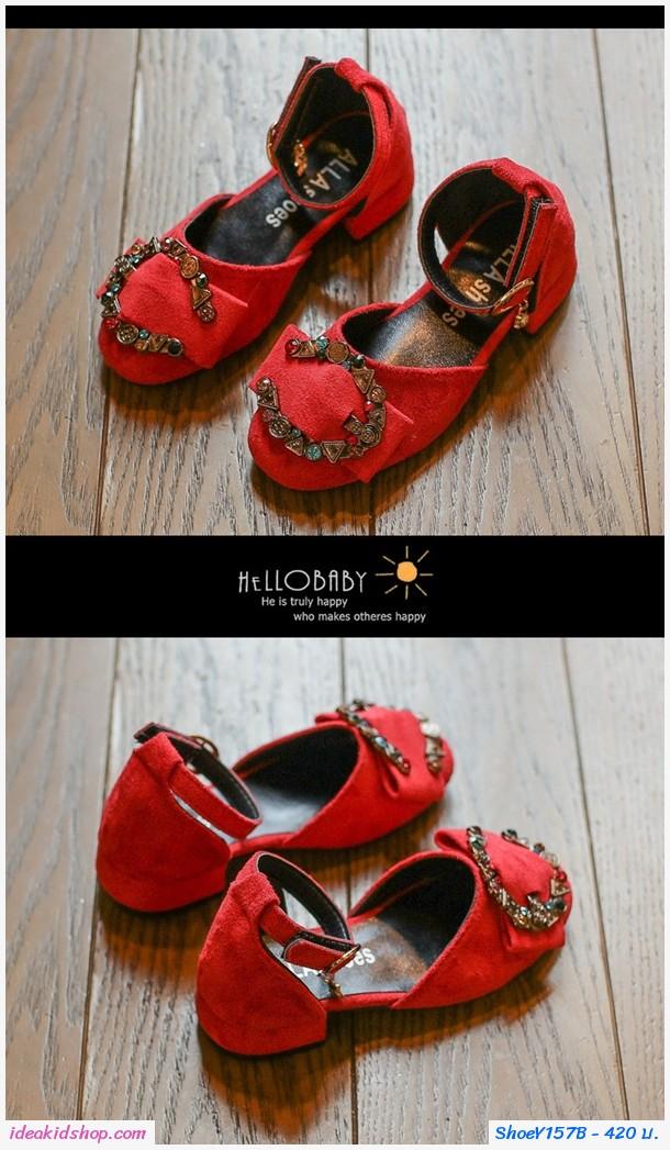 รองเท้าหุ้มส้นวินเทจแต่งคริสตัลตัว C มีส้น สีแดง
