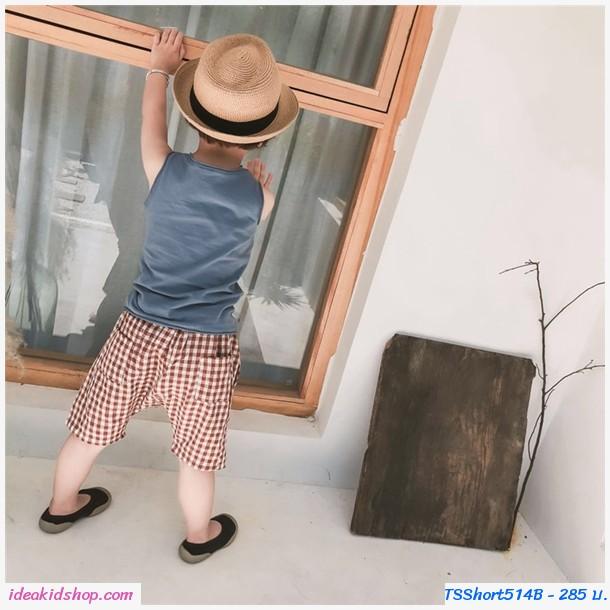 กางเกงเด็กแฟชั่น ขาสั้น Mystery Square สีน้ำตาล
