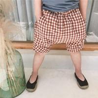 กางเกงเด็กแฟชั่น-ขาสั้น-Mystery-Square-สีน้ำตาล