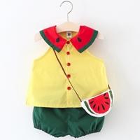 ชุดเสื้อกางเกง-พร้อมกระเป๋าสะพาย-ลายแตงโม-สีเหลือง