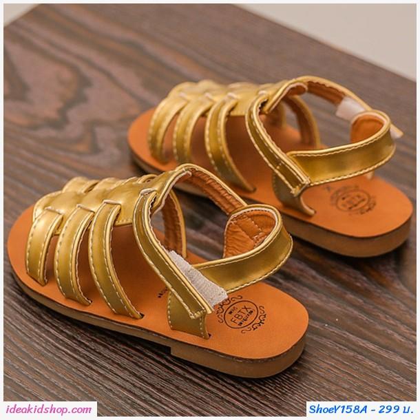 รองเท้าร้ดส้นหนังเงาแบบสาน สีทอง