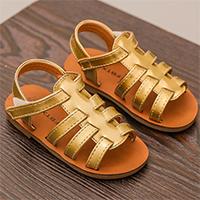 รองเท้าร้ดส้นหนังเงาแบบสาน-สีทอง