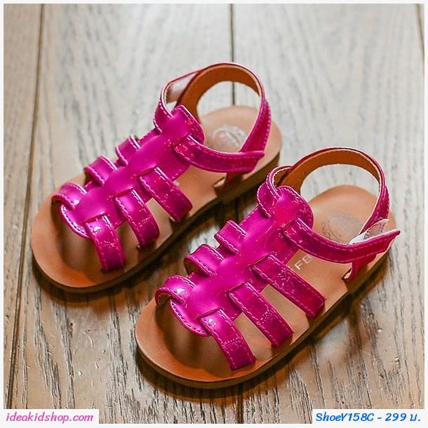 รองเท้าร้ดส้นหนังเงาแบบสาน สีชมพู
