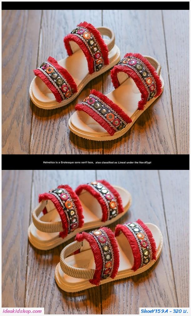 รองเท้ารัดส้นคลาสสิคสไตล์โบฮีเมียน สีแดง