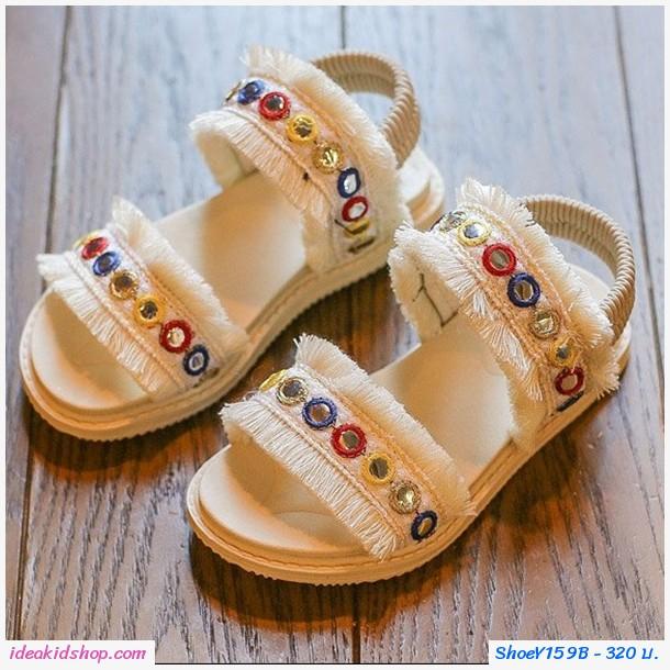 รองเท้ารัดส้นคลาสสิคสไตล์โบฮีเมียน สีขาว