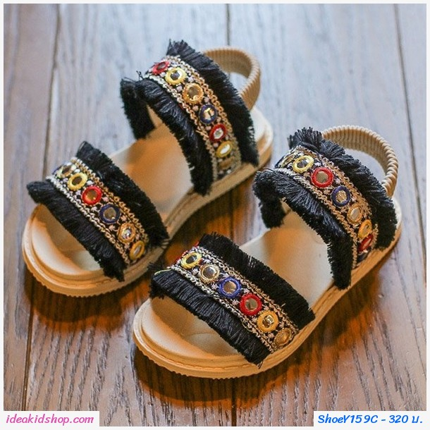 รองเท้ารัดส้นคลาสสิคสไตล์โบฮีเมียน สีดำ