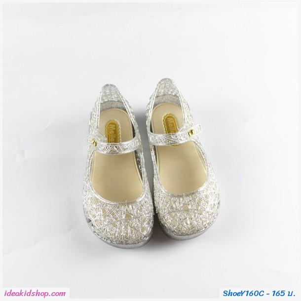 รองเท้าหุ้มส้น รังนกแบบสายคาด สีขาว
