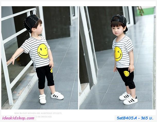 ชุดเด็ก เสื้อกางเกงลายทาง Smile Twinkle สีขาว