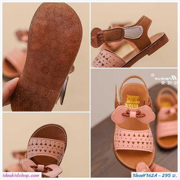 รองเท้ารัดส้น ลายสามเหลี่ยม สายคาดแต่งโบว์ สีชมพู