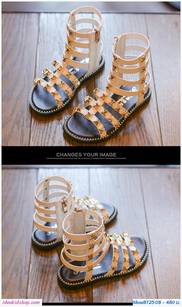 รองเท้าสาน มินิ Gladiator สีขาว