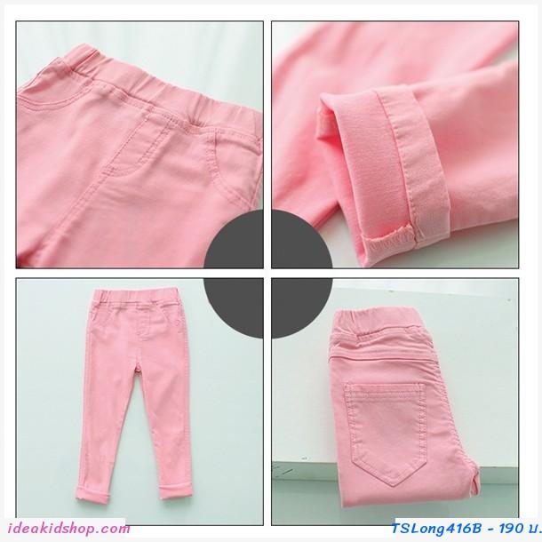 กางเกงขายาว Skinny Pencil Trousers สีชมพูอ่อน